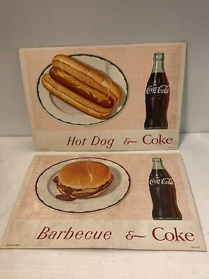 Vintage 1950's Coca-Cola Soda Shop Cardboard Counter Cards BBQ And Coke RARE!