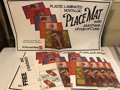 Vintage 1976 Coca-Cola Placemat Promo Advertising Poster 30+ Piece Set VERY RARE