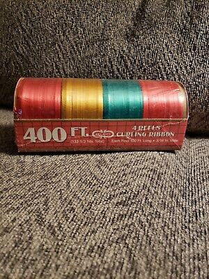 Christmas Curling Ribbon 4 Reels-Red, Yellow, Green, Red-NOS