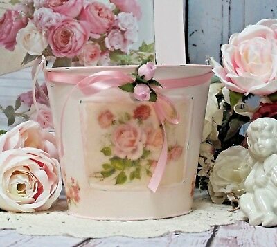 ~ Shabby Chic Metal Bucket French Farmhouse Laundry Room Decor Pink/Distressed ~
