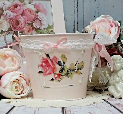 ~ Shabby Chic Metal Pail, Bucket French Country Cottage Laundry Room Decor ~
