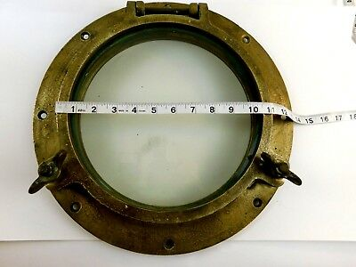 "LARGE - 11"" VINTAGE Marine BRASS PORT HOLE / Window -  100% ORIGINAL"