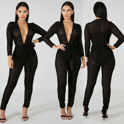 5b66b548055a Women s Sexy Deep V Mesh Sheer Perspective Bodycon Jumpsuit Rompers Clubwear