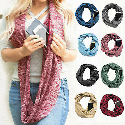 Women Winter Convertible Infinity Scarf With Pocket Zipper Circle Shawl Scarves