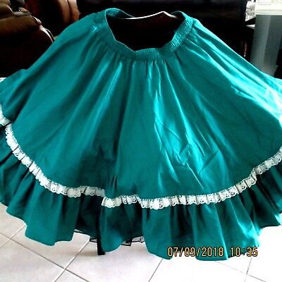 "S#20-Square Dance Skirt,teal,full Circle,waist 26""-34"",20 "" Long"