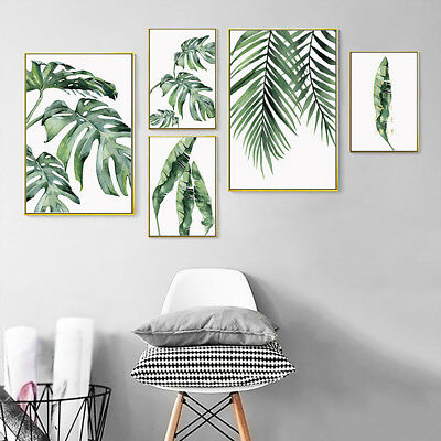 HK- Green Plant Leaf Canvas Painting Picture Wall Living Room Home Office Decor