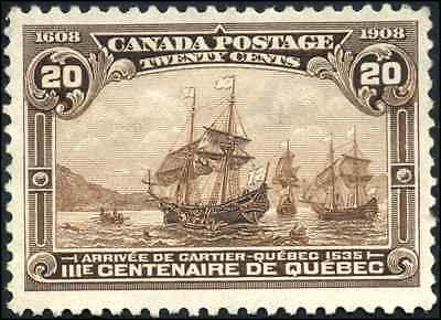 Canada #103 used VF 1908 Quebec Tercentenary 20c brown Cartier's Arrival