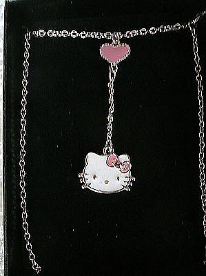 """Hello Kitty Necklace """"Y"""" Silvertone White Cat with Pink Bow & Rhinestone Avon..."""