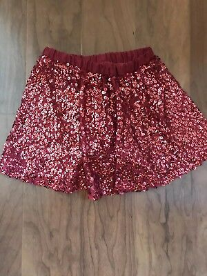Cherokee Girl's RED Sequin Skirt Size XS 4/5  Holiday Sparkly SEQUINS