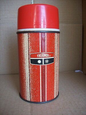 Vintage 1969 Thermos Bottle No. 2810 Half Pint - King Seeley  Red with Stripes