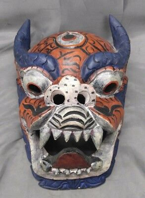 Hand Carved Hand Painted Asian Dragon Demon Mask