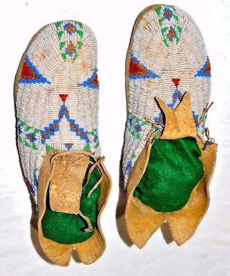 Antique Native American Indian Cheyenne Fully Beaded Moccasins, Rawhide Soles