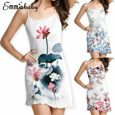 Women Summer Sleeveless Floral Evening Party Cocktail Beach Short Mini Sun Dress