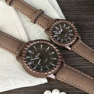 Women Men Casual Luxury Quartz Analog Watch Leather Strap Wrist Couple Watches