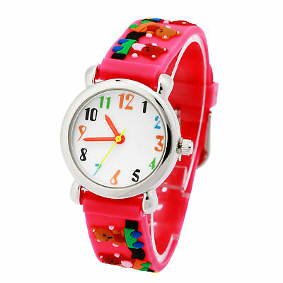 Kids Boys Girls 3D Cartoon Waterproof Wrist Watch Rubber Analog Bear Christmas