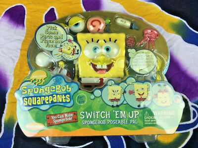 Vintage Spongebob Square Pants Toy Switch 'em Up Poseable Pal New In Box (R05)
