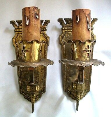 Antique Arts & Crafts Cast Bronze Pair Wall Sconces Gothic Mission Castle