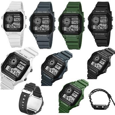 PANARS Men's Sport Watch Square Digital LCD Silicone Band Digital Alarm Watches