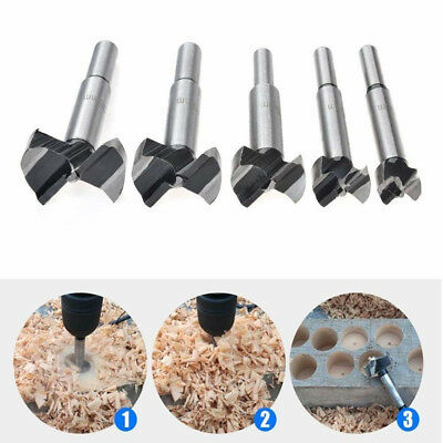 5pcs Forstner Wood Drill Bit Set Hole Saw Cutter Wood Tools with Round Shank