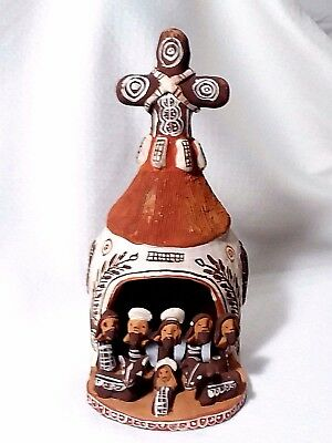 Vintage Peruvian Folk Art Pottery Mission/Church Nativity Scene