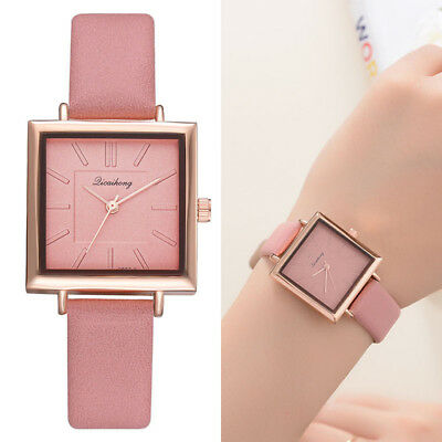 Women Lady Girl Wrist Quartz Watch PU Leather Square Alloy Fashion Durable Gift