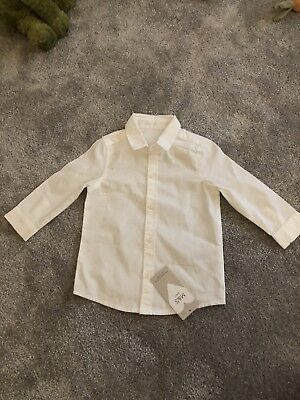M&S Baby Boys Ling Sleeve White Shirt 6-9 Months