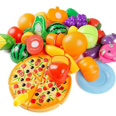 Kids Food Cutting Sets Pretend Role Play Kitchen Toy Fruit Vegetable Game Props