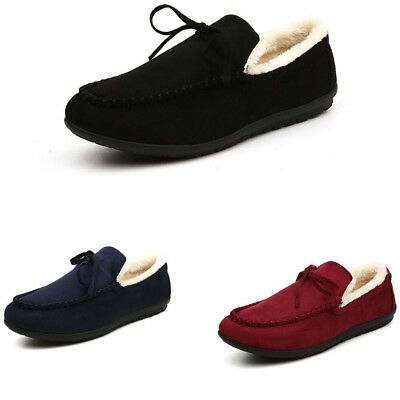 Men's Winter Warm Comfy Driving Moccasins Casual Shoes Slip On Flat Loafers