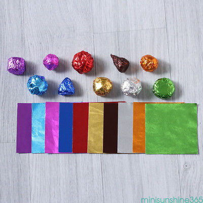 100Pcs Foil Aluminum Wrappers Sweet Candy Chocolate Package Square Decor Paper