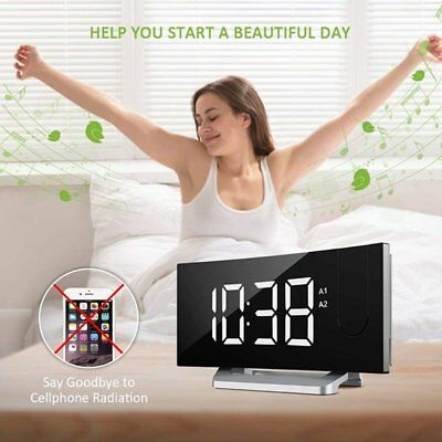 "5"" Digital Projection Alarm Clock Curved-Screen LED FM Radio Dimmer Snooze USB"