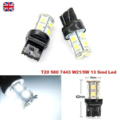 W21/5W 580 7443 T20 White 13 Smd Led Stop Tail Car Bulbs