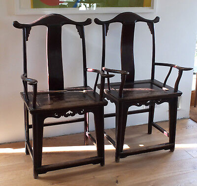 Pair of antique Chinese chairs, yolk back, 19th century, from Shanxi