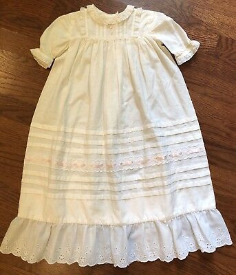Vintage Baptism Christening Gown Handmade Long Dress Eyelet Lace Baby Doll