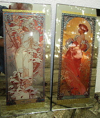 Alphonse Mucha Summer and Winter on Stained Mirror Art Nouveau., 1930