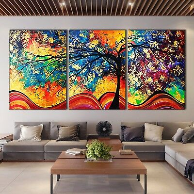 Rainbow Tree of Life Stretched Framed Canvas prints Split print home Wall art