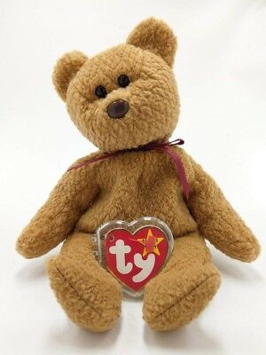 """Vintage 1993 Ty Beanie Baby """"CURLY"""" Bear ~ Retired MWMT Tag Has Come Unattached"""