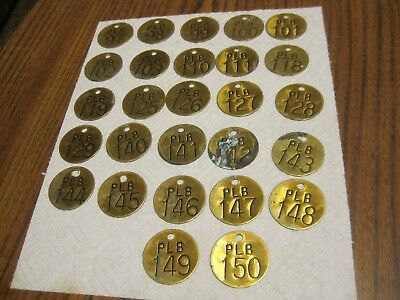 Nos -Lot Of 27 Vintage Brass Livestock Number Tags Round-  Great Patina