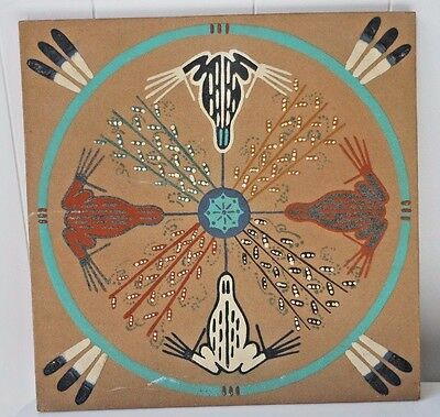 WESTERN ART Sand Painting SACRED FROG  New Mexico LARGE 16X16 EL SMITH SQUARE
