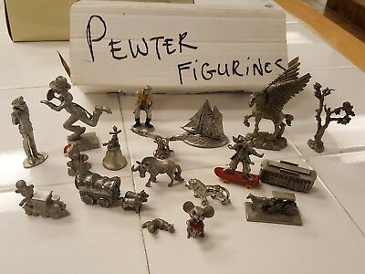 Box of 18 Assorted Vintage Pewter Figurines