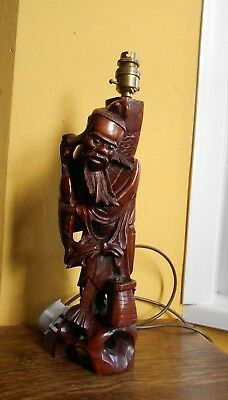 Antique Chinese Carved Wood Deity Figure lamp