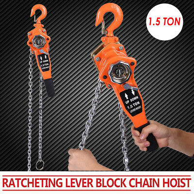 1.5TON 10FT Lever Block Chain Hoist Puller Pulley Mining Machinery Ratcheting