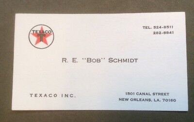 Texaco Business Card New Orleans 1501 Canal St. Red Green Logo - 1990's?