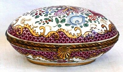 C19Th Sevres Hand Painted Hinged Trinket Box Decorated With Flowers