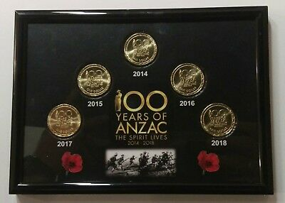2014, 2015, 2016, 2017, 2018 - 5 x $1 ANZAC Coins - 100 Years of ANZAC