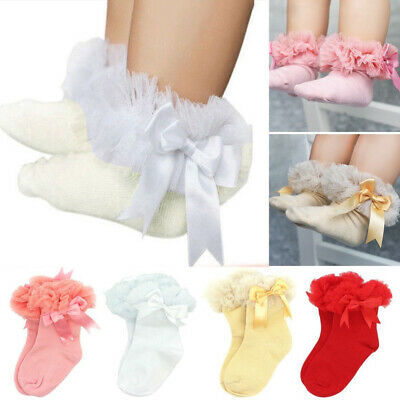 Baby Girls Tutu Socks Bow Lace Newborn Infant Frilly Sock Cotton Short Socks UK