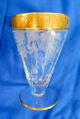 8  early 1920s Cocktail Glasses for cocktail shaker. gold trim , etched. visakay