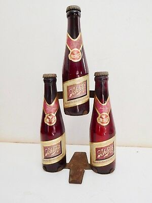 RARE.  1940s Ruby Red Schlitz beer 3 bottle display  anchor hocking visakay