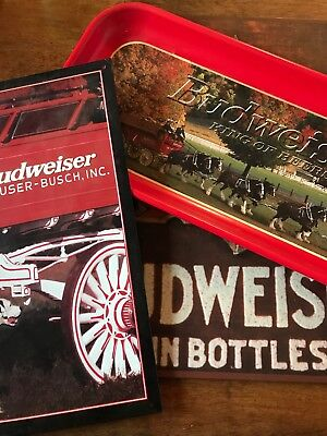 Budweiser Metal Signs And Tray