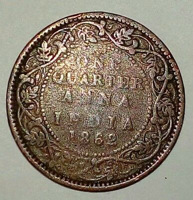 British India 1862 Queen Victoria One Quarter Anna