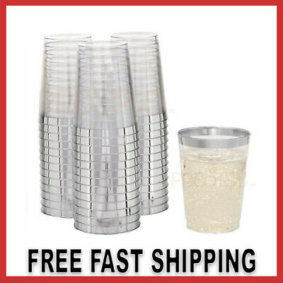 Wedding Reception 10oz Disposable Plastic Tumblers Cups Clear With